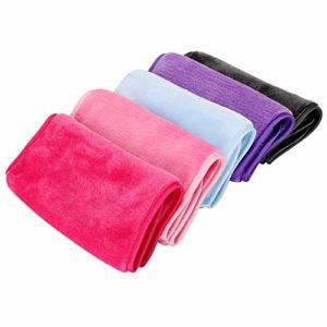 5 pièces de chiffon démaquillant serviette de toilette pour le visage tampons propres pour le visage réutilisable lavable absorbant microfibre, pour toute la peau