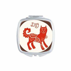 DIYthinker Miroir de maquillage compact avec motif animal en Chine, motif zodiaque rouge carré