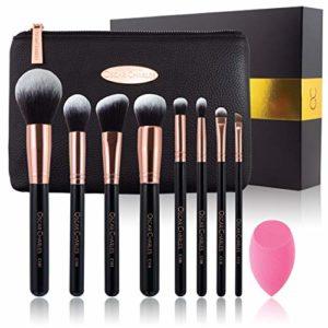Ensemble de pinceaux de maquillage Oscar Charles: pinceaux de maquillage professionnel de luxe, 8pièces, mixeur de beauté et trousse de maquillage de luxe dans un magnifique coffret cadeau