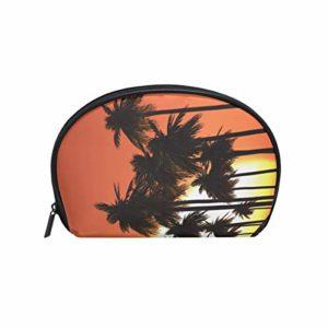 Femmes de voyage Palmiers contre le coucher du soleil Imprimé ciel Sacs cosmétiques Portable Maquillage Pochette Pochette Petit Sac Cosmétique et Organisateur de Toilettes