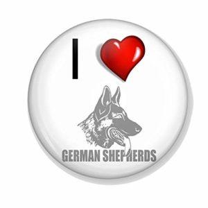 Gifts & Gadgets Co. I Love Miroir de maquillage rond 77 mm Motif bergers allemands Idéal pour sac à main ou poche