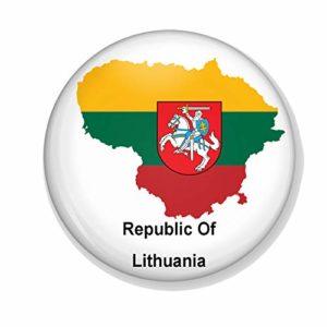 Gifts & Gadgets Co. Miroir de maquillage rond avec motif drapeau lituanien sur carte de pays de Lituanie 77 mm