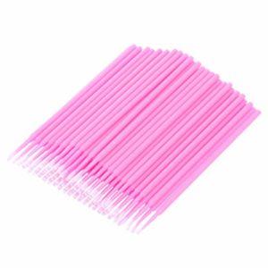 Healifty micro applicateurs jetables brosse pinceaux mascara pour extension de cils de soins personnels extension 100pcs (rose)