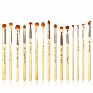 Jessup Lot de 15 Pinceaux de maquillage professionnel en bambou, avec pinceau pour ombre à paupières, pinceau eyeliner, pinceau estompeur, pinceau de définition, pinceau correcteur