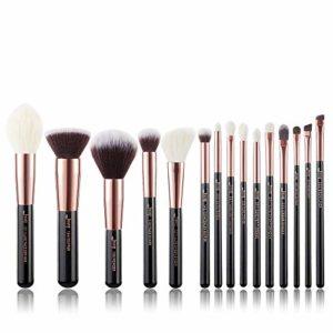 Jessup Lot de 15 pinceaux de maquillage professionnels, couleur perle blanche et rose doré, kit de maquillage pour fond de tient, poudre, définition et contours T160