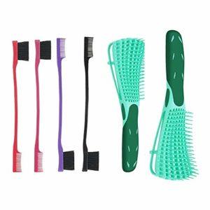 Lot de 2 pinceaux démêlants et 4 pinceaux de contrôle des bords pour cheveux bouclés naturels, mouillés, secs, longs et épais.