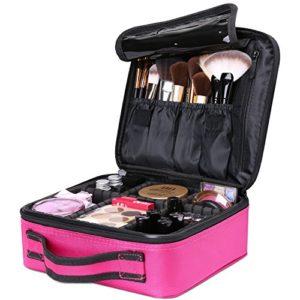 Luxspire Makeup Étui de Rangement Cosmétique, Maquillage Professionnel Ensemble Portable Sac de Rangement Pinceaux avec Diviseurs Réglables – Rose