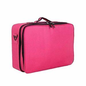 Maquillage Voyage Case cosmétique Voyage professionnel Boîte de rangement avec bandoulière eau Sacs de maquillage résistant Rose rouge 1Régler