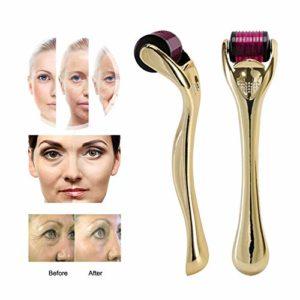 Microneedle Derma Roller,0.5mm,540 Micro Needle Roller,pour Stimule Repousse Cheveux/Pousse Barbe,réduit La Perte De Cheveux,Visage Soin De La Peau,d'or,0.75mm