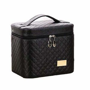 Mode Cosmetic Case double couche PU femmes cosmétiques cas de grande capacité Voyage main portable maquillage Held Boîte Accessoires de maquillage noir