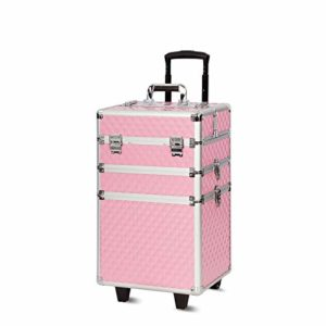 Mondeer Malette Maquillage, Valise à Maquillage 3-en-1 54cm 2 Roues Rosé Serrure à Clé Poignée Télescopique pour Professionnel