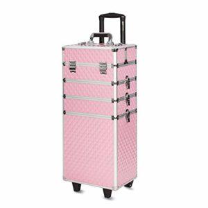 Mondeer Malette Maquillage, Valise à Maquillage 4-en-1 76cm 2 Roues Rosé Serrure à Clé Poignée Télescopique pour Professionnel