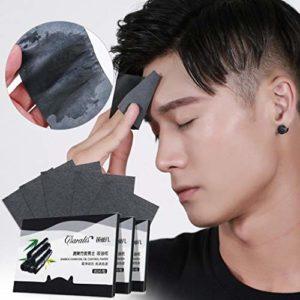 Ogquaton Lot de 80 feuilles de maquillage absorbantes pour le visage et le visage Noir