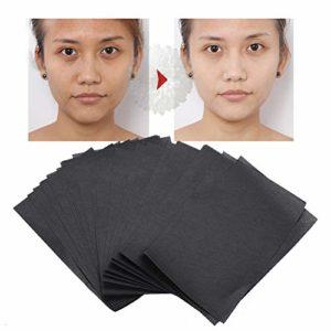 Papier buvard, papier de maquillage en feuille de contrôle de l'huile de charbon de bambou, 90 pièces/paquet pour une peau propre et propre