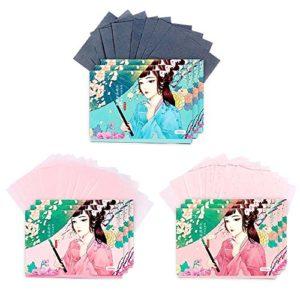 Papiers de buvard de maquillage de double face visage papier absorbant l'huile ensemble, 300 feuilles (A)