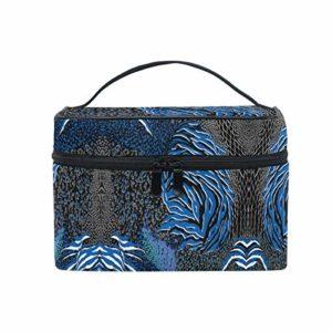 Peau D'Animal Mixte Colorée Bleue Sac Cosmétique Organisateur Fermeture à Glissière Sacs Trousse de Maquillage Pochette Cas de Toilette pour Voyage Les Femmes Filles