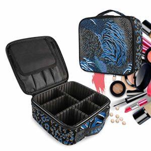 Peau D'Animal Mixte Colorée Bleue Trousse Sac Cosmétique Organisateur de Maquillage Pochette Sacs Cas avec Cloisons Amovibles pour Voyage Les Femmes Filles