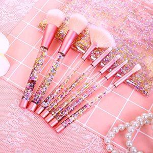Pinceau de Maquillage Professionnel, [Lot de 7]Kit de Pinceaux de maquillage Pinceau de Poudre de Fond de Teint Pinceau Brosse à Sourcils Outil de Maquillage avec Sac en Bling