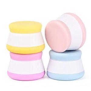 Puve Vie Pack de 4 Silicone Crème Bouteille Pot Portable Conteneur Joint Haut pour Pilule crème Shampooing, Revitalisant, Lotion, Crème solaire, Articles de Toilette – 20ml