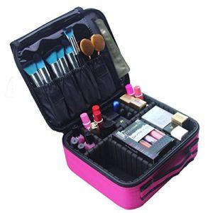 Samtour di trucco borsa da viaggio, trousse Mlmsy makeup brushes organizer portatile impermeabile grande trousse da toilette borse per donne o uomini Hot Pink