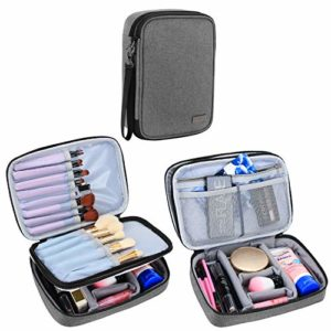 Teamoy Trousses à maquillage, Voyage Pinceaux Maquillage sac pour Pinceaux maquillage (23cm/8.8 pouce au max), Accessoires de maquillage et outils- No accessoires inclus (Medium, Gris)