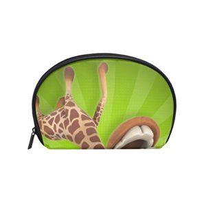 Tizorax – Sac à maquillage amusant girafe de dessin animé – Organiseur pratique de voyage – Pour femmes et filles