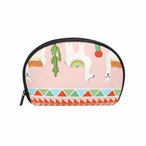 TIZORAX Sac à maquillage ethnique Llama Cactus Sac de voyage Pratique Organisateur de Maquillage Sacs à main pour femmes filles