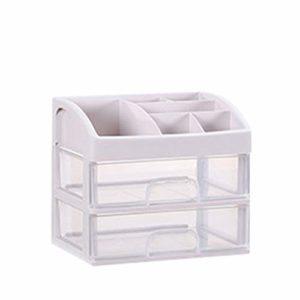 TOPBATHY Cosmétiques Tiroir Boîte en Plastique Maquillage 2 Couches Organisateur de Stockage Bureau Conteneur Transparent pour Salle de Bain Chambre Taille 1