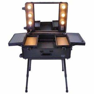 Valise de Maquillage Pro Trousse de Toilette avec lumière Support Miroir