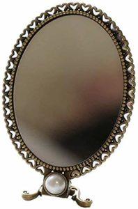 Version Coréenne Du Pliage Rétro Miroir De Maquillage Beauté Main Miroir De Maquillage De Bureau Miroir HD Rond Réglable Simple Face (Color : Large)