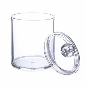 Xiton Distributeur de bocal transparent en plastique acrylique pour boules de coton, cotons-tips, Q-tips, tampons de maquillage (double couche)