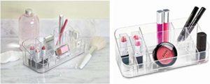 ZPN Organisateur de Maquillage avec 3 Compartiments, Porte-Pinceau de Maquillage en Plastique pour Coiffeuse, Rangement de Maquillage pour pinceaux, Eye-Liner, avec 14 Compartiments