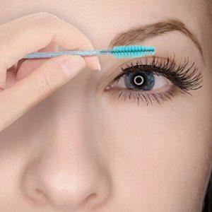 100 Brosses à cils jetables, pinceaux à cils jetables, outil de maquillage mascara brosse à sourcils applicateur,poignée en cristal