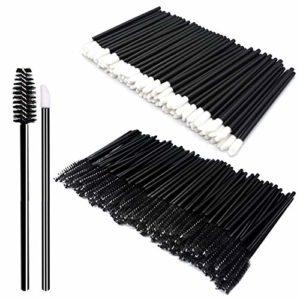 200pc maquillage kits d'outil jetables brosse à lèvres bâton noir brosse à cils jetable brosse de maquillage quotidien ensembles de brosse