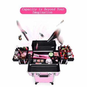 4 en 1 valise en aluminium de cadre de valise/outil, beauté boîte cosmétiques maquillage manucure cheveux, boîte de rangement portable pour voyage (Couleur : Noir)