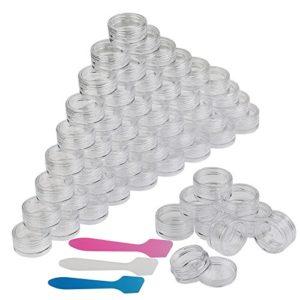 54 Pièces Pot Vide Cosmétiques, LANMOK Petit Contenant En Plastique Jar à Échantillon Avec Mini Spatule Pour Crème et Stockage de Maquillage,5 g (transparent)
