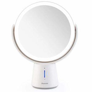 Auxmir Miroir Grossissant x10 / x1 Pivote à Deux Côtés Miroir Maquillage Lumineux LED, 5 Niveaux de Luminosité, Miroir de table Pivotant à 360 ° , Miroir Cosmétique de Voyage Portatif