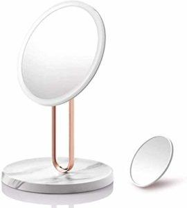 Aycpg LED de Bureau Miroir de Maquillage avec des lumières de Chargement USB Miroir cosmétique Table réglable Make Up Tool Miroir Cadeau