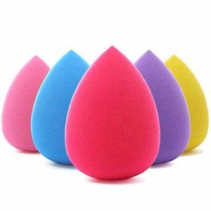 BEAKEY 5 pièces Éponges de maquillage à Fond de Teint pour maquillage Éponge de mélange de fond de teint sans faille pour crème et poudre liquides, Les éponges de mixeur de maquillage coloré