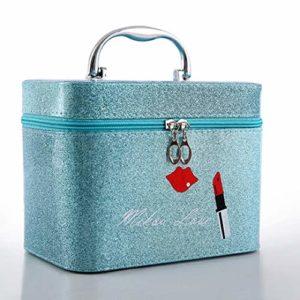 Boîte à Bijoux Sac Cosmétique Multi-Fonction Gommage décontracté Affaire cosmétique en Cuir Bleu Dames Portable boîte de Rangement Portable