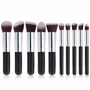 Brosse de maquillage Set 10pcs / ensemble pinceaux de maquillage multifonctionnel doux outil de pinceau à lèvres fard à paupières Cosmétiques Set Brosses (Color : Black+Silver)