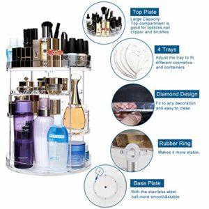 CECOLIC Organisateur de maquillage rotatif à 360 °, 12 couches de stockage de cosmétiques en acrylique, convient aux bijoux, pinceaux de maquillage, rouges à lèvres et plus
