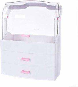 Cosmétiques Boîte de rangement avec poignée, Chambre anti-poussière cosmétique cas bain bijoux de grande capacité fonctionnelle Plateau cosmétique Coiffeuse -15.2 * 11 * 7,6 pouces