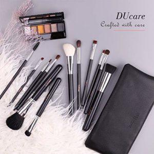 DUcare Pinceaux de Maquillage 12 Pinceaux de Maquillage Professionnel Premium Synthétique Chèvre Poney Cheveux Kabuki Fondation Blush Pinceaux Kit avec Sac À Cosmétiques