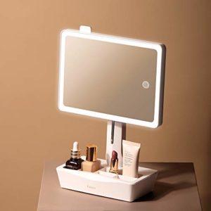 Fancii LED Miroir de Maquillage Lumineux avec Miroir Grossissant de 10x – Grande, Lumière Naturelle, Écran Tactile, USB et Batterie, Support Entièrement Réglable