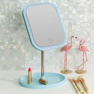 JERPOZ Emitting Miroir Rond Miroir, La Rotation De L'éclairage De Miroir, for Le Soin Cosmétique De La Peau De Soin du Visage Et Voyage De Rasage Noël