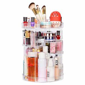 JessLab Organisateur de Maquillage, Rotatifs à 360 Degrés Réglable Organisateur Maquillage Rangement Maquillage, Support pour Brosse et Lèvres, Vanité de Salle de Bain Multifonction et Grande Capacité