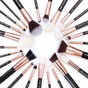 Jessup – Lot de 25 pinceaux de maquillage professionnel – Pour cosmétiques, fond de teint, fards à joues, rouge à lèvres – Poils synthétiques similaires aux naturels
