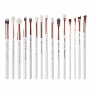 Jessup Lot de 15pinceaux de maquillage professionnel, couleur perle blanche et rose doré, pour yeux Poils naturels-synthétiques