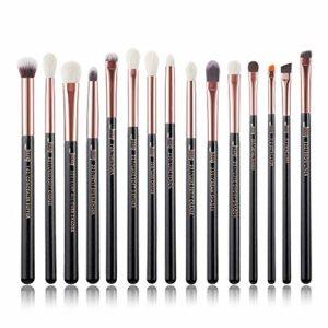 Jessup T157 – Lot de 15pinceaux de maquillage professionnels, manches en bois, poils naturels/synthétiques, couleur Perle Noire/Or Rose